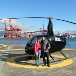 Sky Helicopters - Vancouver city tour - David & Cristina posing with helicopter