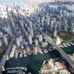Sky Helicopters - Vancouver city tour - view of bridges converging on downtown